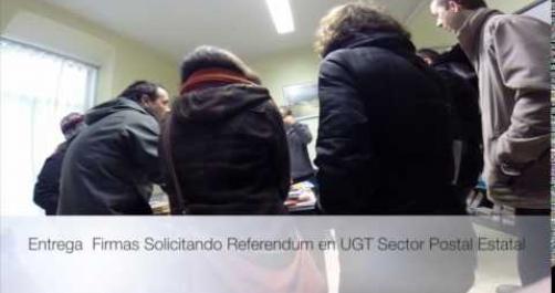 Entrega firmas Pidiendo REFERENDUM  sede  UGT